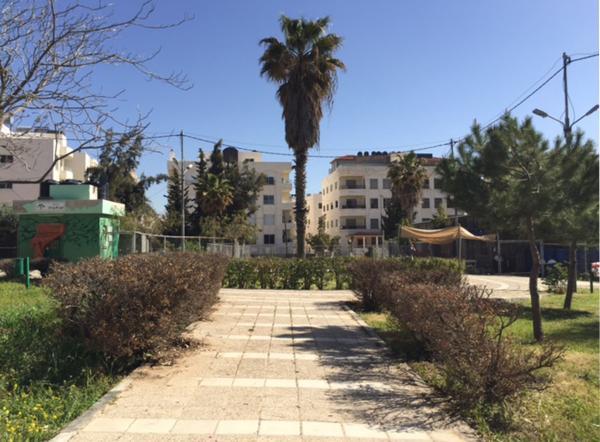 View of the garden taken from the southwest   لقطة للحديقة مأخوذة من الجهة الجنوبية الغربية