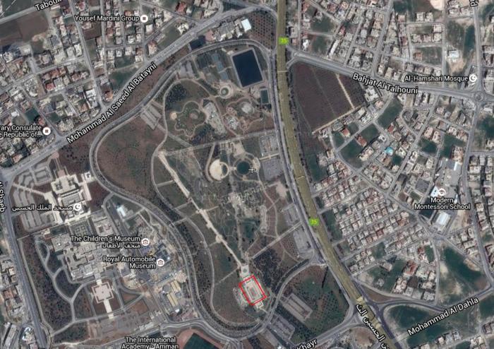 Aerial view showing the Pavilion's location in the King Hussein Gardens   صورة جوية تبين موقع المشروع في حدائق الملك حسين