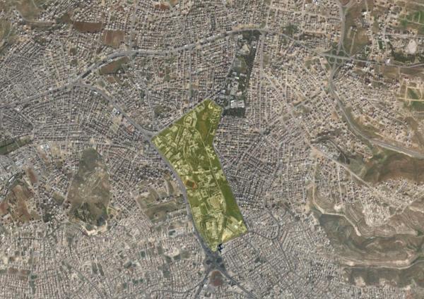 Aerial view showing the University of Jordan Campus لقطة جوية تبين حرم الجامعة الأردنية