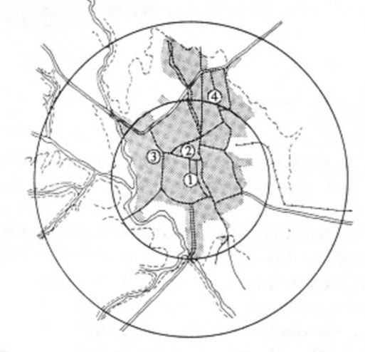 Figure 7: A site location plan of Old Riyadh and the major projects that took place in Riyadh during the first half of the twentieth century.