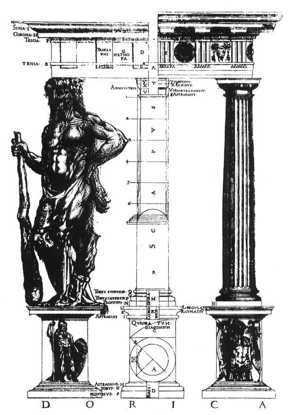Figure 2: Shute's illustration of the Doric order, from his  First and Chief Groundes of Architecture , 1563.