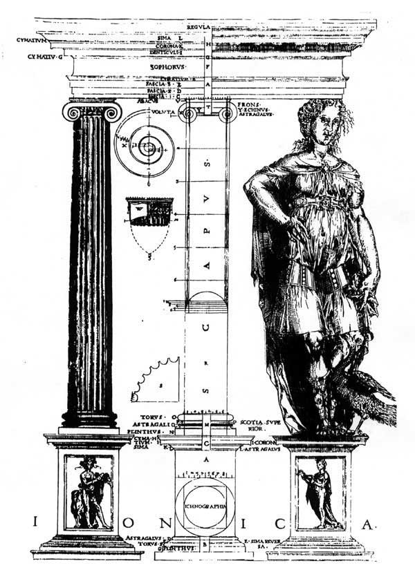 Figure 3: Shute's illustration of the Ionic order, from his First and Chief Groundes of Architecture, 1563.