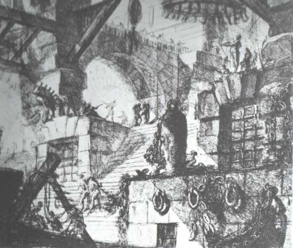 Figure 7: Piranesi's sketch of an imaginary prison interior, from the series of etchings called Carceri  (Prisons), 1744.
