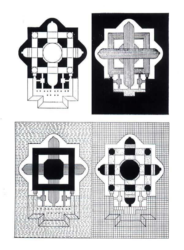 Figure 11: Zevi's diagrams of St. Peter's cathedral, redrawn from his  Architecture as Space , 1957.