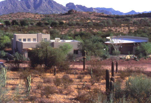 Figure 6: A view of the Desert House demonstration project and its surrounding context in the Desert Botanical Garden in Phoenix, Arizona.