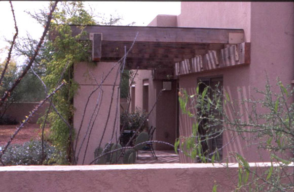 Figure 8: A view of the ramada and adjacent vines installed at the south side of Desert House.