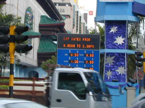Figure 2: Signs displaying charges for driving through a specific street in Singapore.