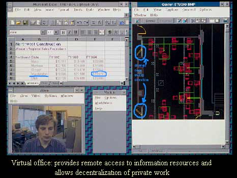Figure 7: A computer screen image used by an MIT architecture student. The screen displays links to CAD and spreadsheet databases, and a video connection to a remote design collaborator.