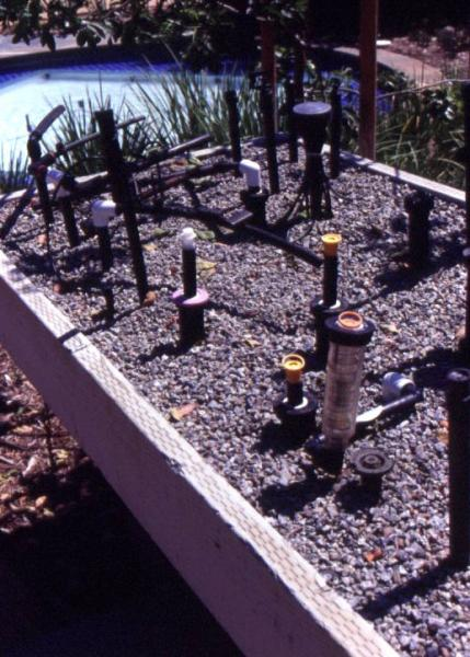 Figure 8: The Water Conservation Demonstration Garden in San Diego, California: The components of a drip irrigation system.
