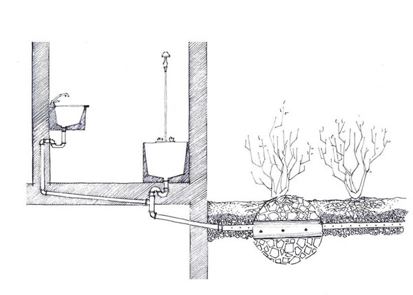 Figure 2.1: Simple graywater system in Amman (Drawing by Hind Hussein)
