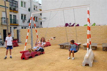 "From top to bottom: The ""Walkmobile""; small soccer field/plaza in Sharjah, UAE; children's play area in Seville, Spain."