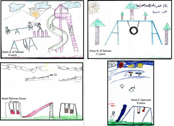 Figure 3: Samples of the drawings that the children prepared to express their conception of a play environment.