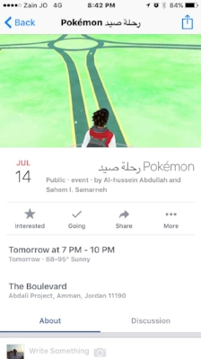 A Facebook event for a public   Pokémon hunt at the Abdali  Boulevard in Amman