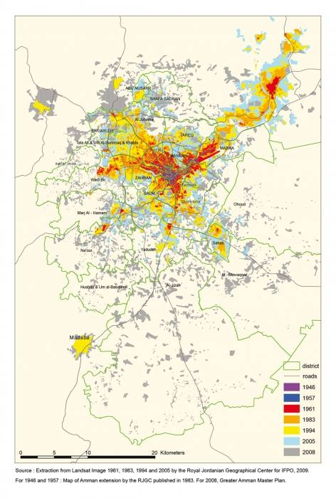 Map of Amman's Extension - خريطة توسع حدود أمانة عمان