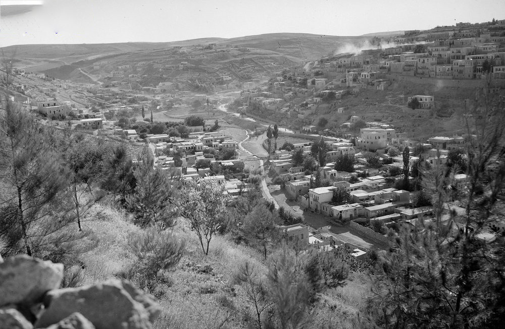 View of the Amman Creek from the 1940s showing one of the bridges crossing it. .صورة لسيل عمّان تعود إلى عقد الأربعينات من القرن العشرين وتبيّن أحد الجسور التي تعبره