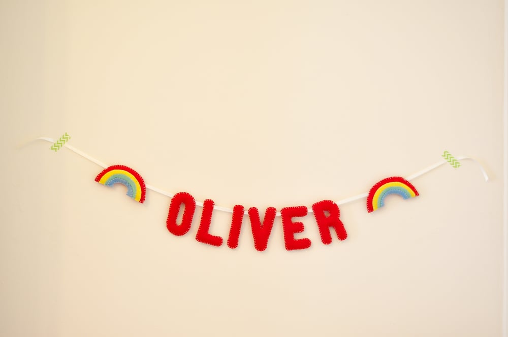 OLIVER BABY NAME BUNTING