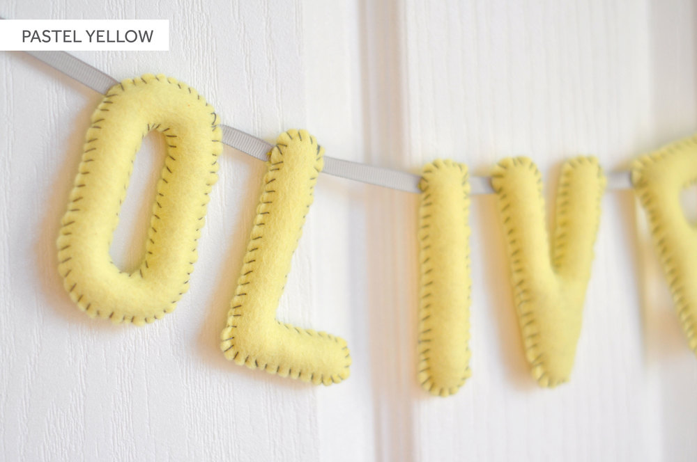 PASTEL YELLOW BABY NAME BUNTING