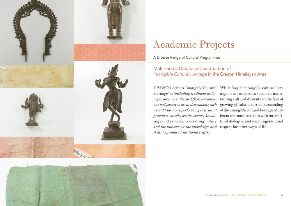 Collage of objects and page layout for brochure