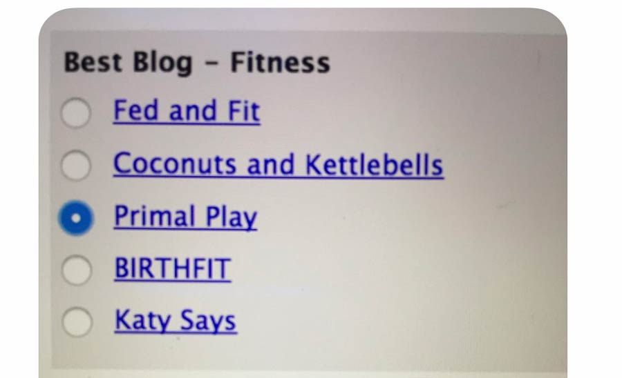 Primal Play Nominated in Best Blog - Fitness Category