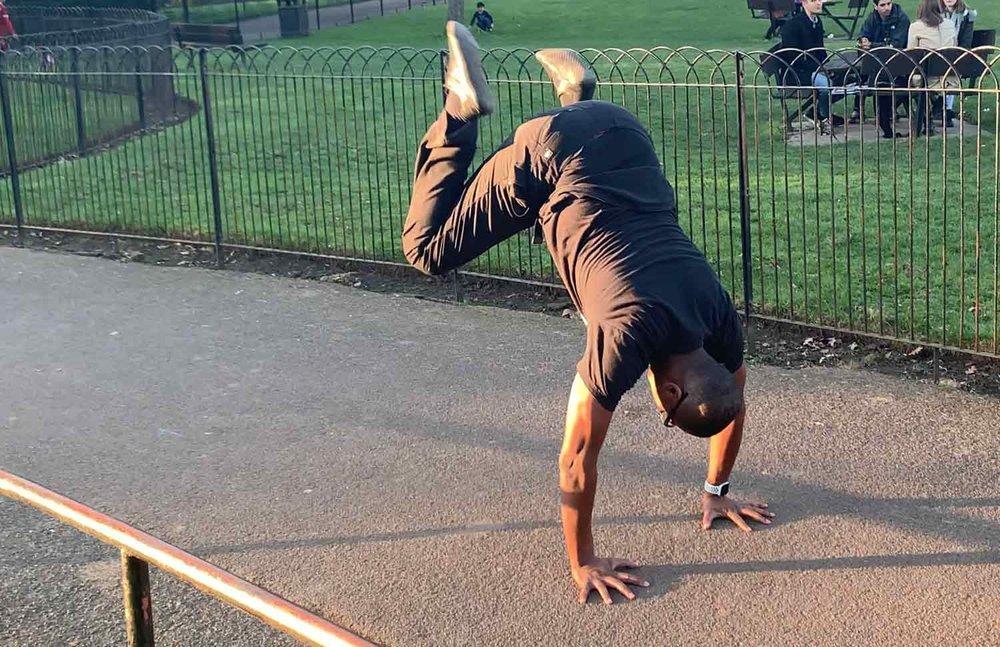 Darryl Edwards performing a  Donkey Kick …