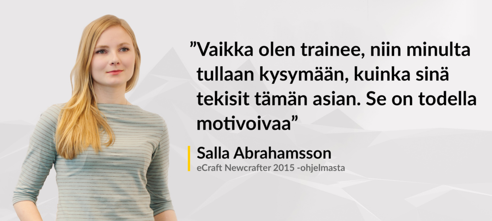 Salla Abrahamsson kiinnostui IT-alasta hakuprosessin aikana.