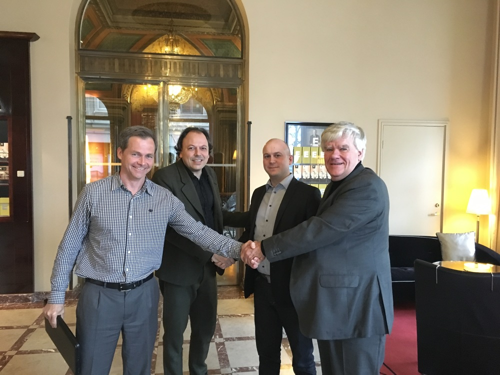 From left to right:  Josep Pou Witty : Infor Practice EMEA – Sales at Ciber, Patrik Hallberg : Infor Practice EMEA – Delivery at Ciber,  Fredrik Johansson : Managing Director, Sweden at Ciber &  Bert-Olov Bergstrand : Sales and Marketing Director at eCraft.