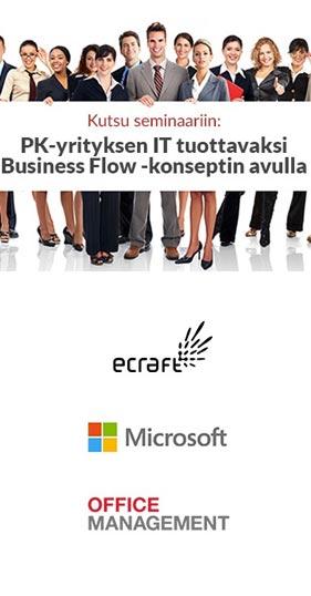 Seminaari: Pk-yrityksen IT tuottavaksi Business Flow -konseptin avulla 15.09.2016 - Microsoft Talo
