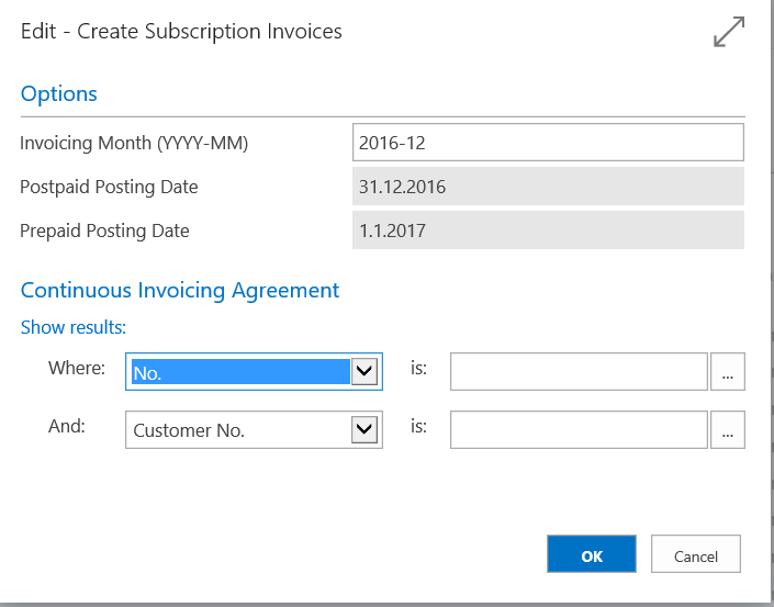 Setting Invoicing month and year