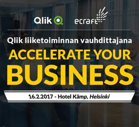 Qlik liiketoiminnan vauhdittajana – Accelerate Your Business 16.02.2017 - 08:30 - 11:00