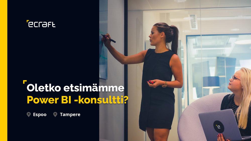 Oletko kokenut datan hallinnan osaaja ja kiinnostunut pilvipalveluiden tuomista mahdollisuuksista? Sytytkö innovatiivisten tiedolla johtamisen ratkaisujen kehittämisestä? Haemme Dynamics 365 -liiketoimintayksikköömme Power BI -konsultteja Espooseen sekä Tampereelle.