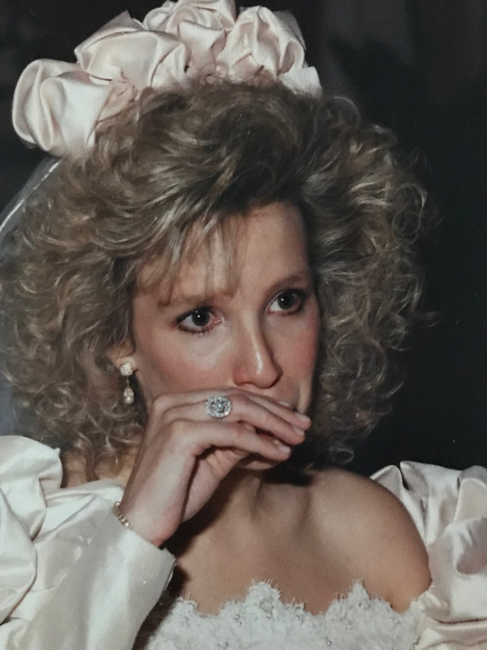 Jacqueline on her wedding day, wearing Yvonne's ring