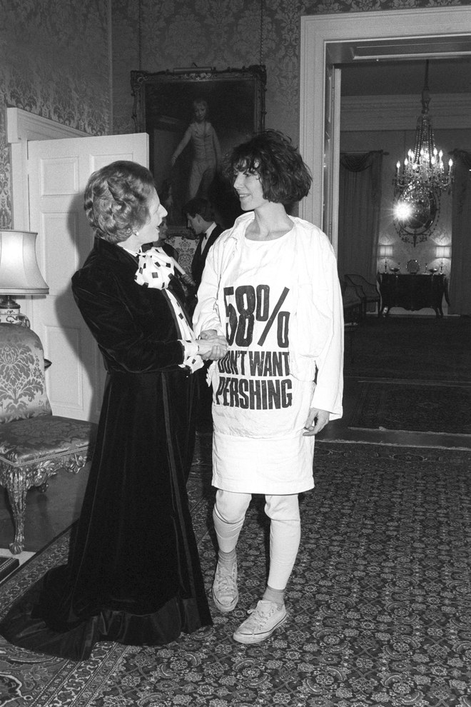 "Katharine E. Hamnett CBE is an English fashion designer best known for her political t-shirts ... in 1984 Hamnett met with then-Prime Minister Margaret Thatcher wearing her own t-shirt with the slogan ""58% DON'T WANT PERSHING"""