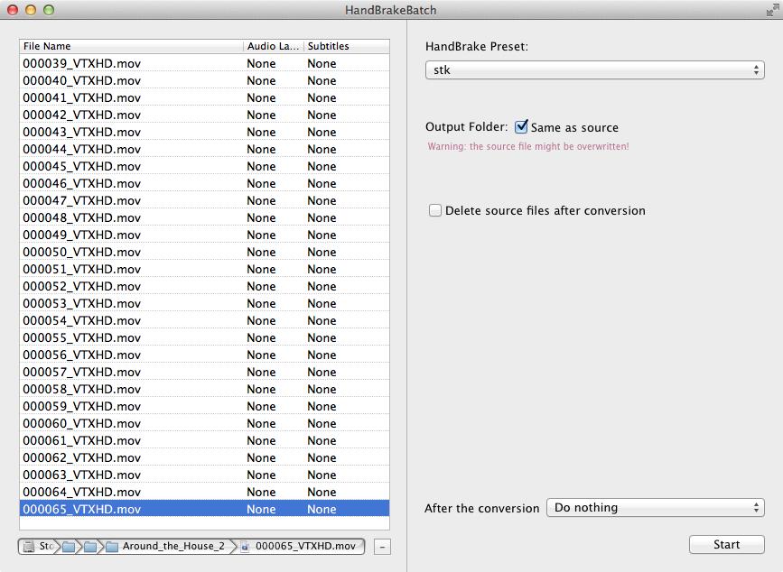 Screenshot of the HandBrakeBatch interface