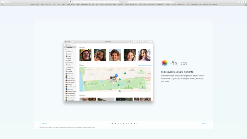You can now view your photos by event, location, or search who or what was in the photos.