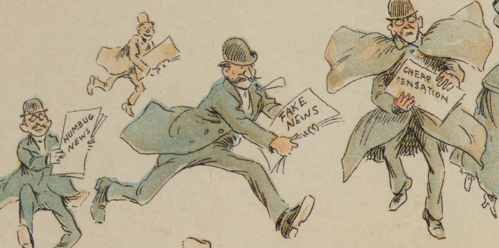 Detail from  The Fin de Siècle Newspaper Proprietor , featured in an 1894 issue of  Puck  magazine.   https://publicdomainreview.org/collections/yellow-journalism-the-fake-news-of-the-19th-century/
