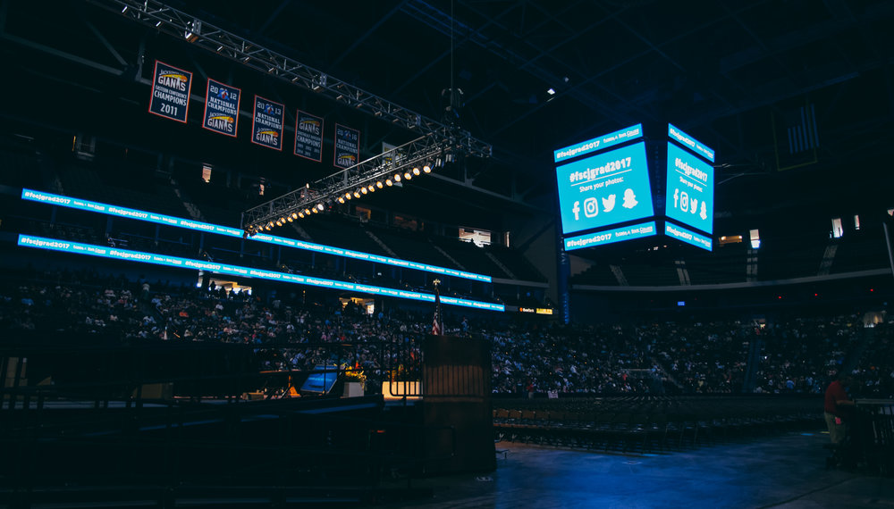 Our camera feeds were displayed on the arena's central jumbotrons.