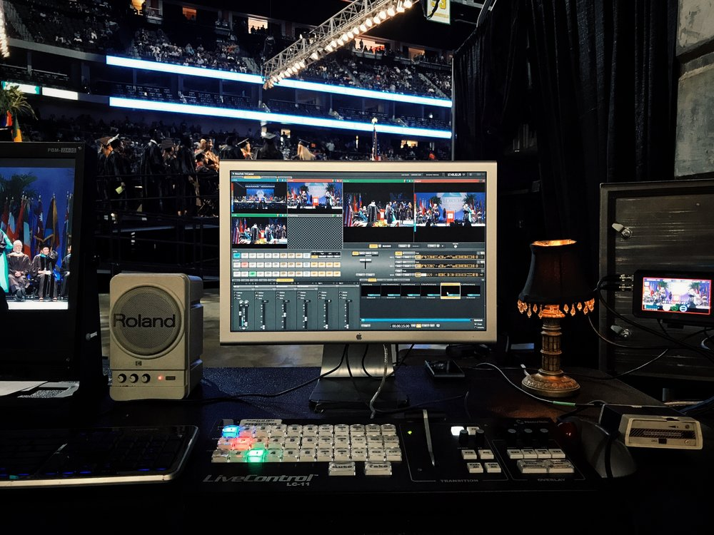This is Mark's view of the three camera feeds as he controls which is viewable by the audience.