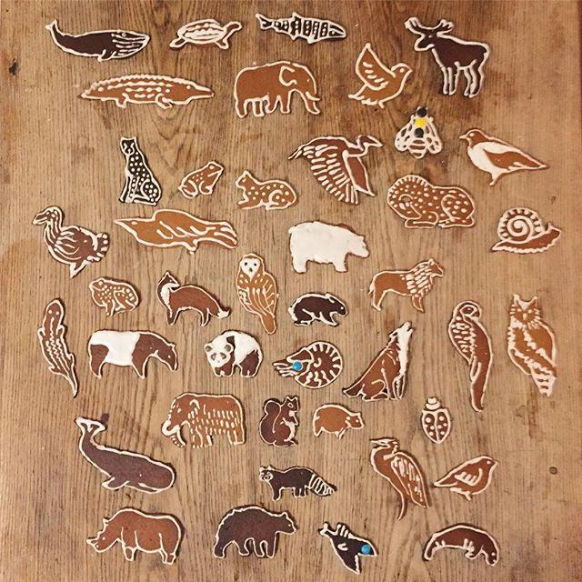 Gingerbread biodiversity #gingerbread #biodiversity #animals #cookieart #turingpatterns #lineart #limitedpalette #nature