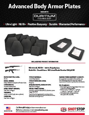 NIJ-III+ D1652SSB Multi-Hit Sell Sheet