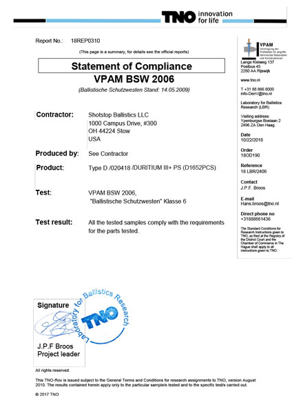 Duritium III+PS German VPAM Ballistic Lab Report