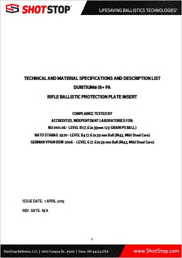 Duritium III+PA Product Technical Design Report