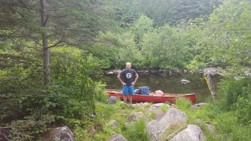 Arriving at the Tim River after the 1330m Portage