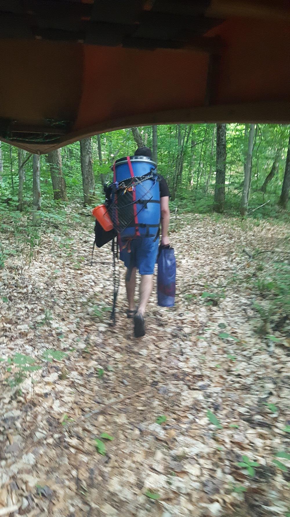 Brandon hiking the bear barrel