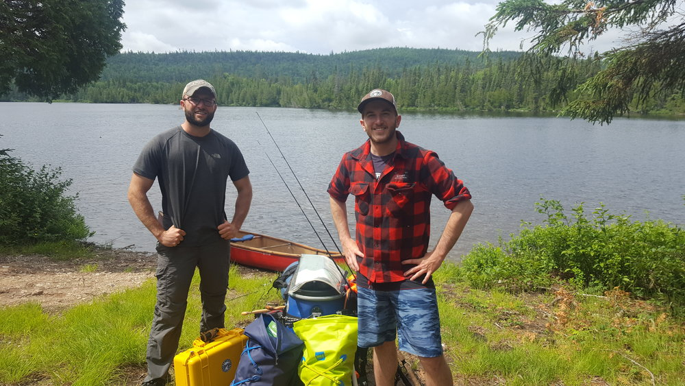 Noah and Alex at the Gamble Lake Access Point in Temagami