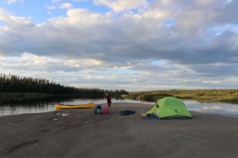 Camp 5 on the Ogoki River - An exposed sand bank typically covered by water in at higher levels