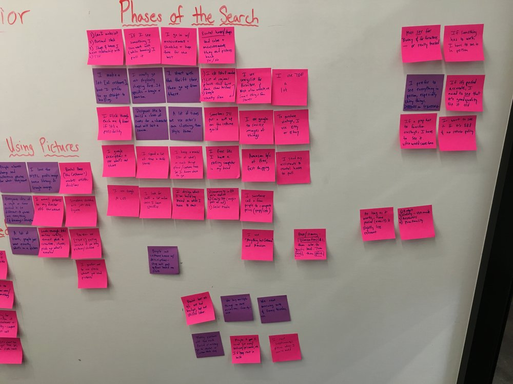 "First, I sorted feedback in an affinity diagram: separating responses that were pains, pleasures, user behaviors, or contexts of use.  I then divided these responses further into themes with titles like ""using pictures,"" and ""buy or build."""