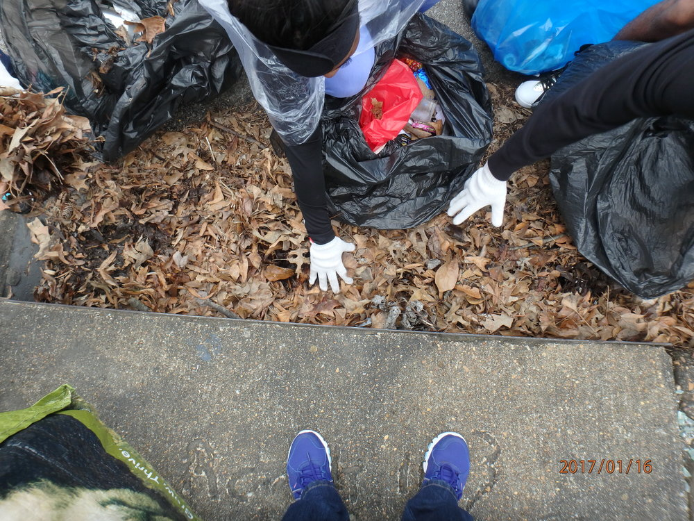 Clean-up of yard waste from storm drain during Day of Service this year at Kingsbury.