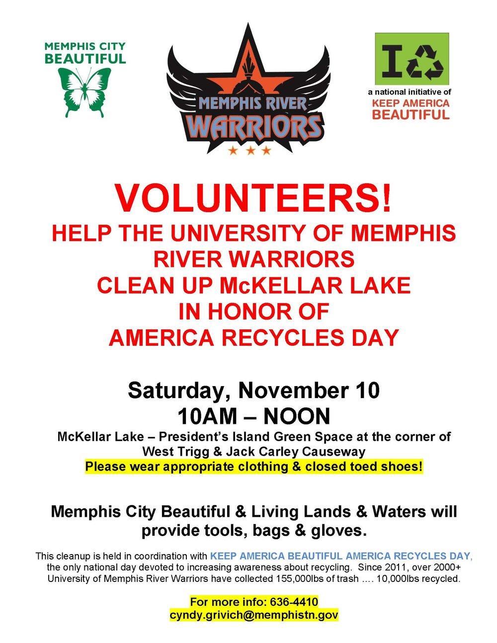 Memphis City Beautiful  River Warriors Recycle Cleanup McKellar Lake 2018.jpg