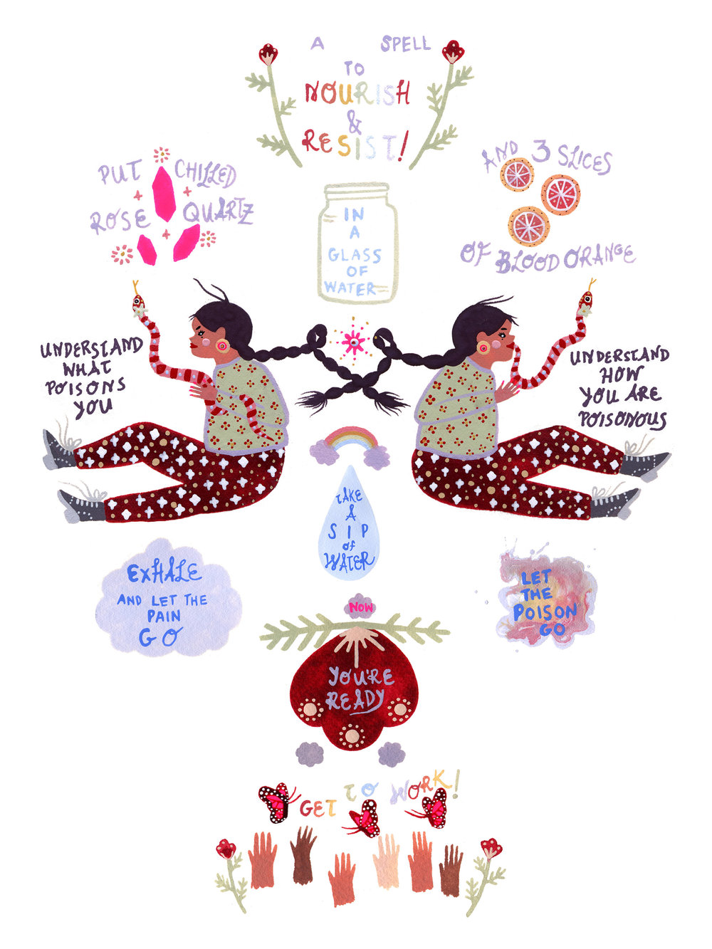 Self Care Spell Illustration by Rebecca Artemisa. Click the image to visit her etsy page, which is full of magical self care themed tools, zines, and illustrations to inspire activism and justice.