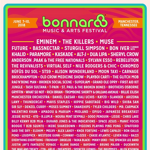 Day 2 of @Bonnaroo is underway! Headliners closing out tonight include @thegr8khalid, @muse and @bassnectar. Swipe left to see the lineup from 10 years ago. Cheers to 16 years on the farm! 🕺 #bonnaroo #roo